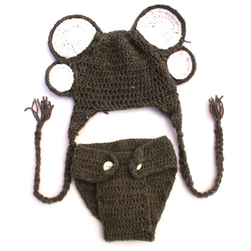Crochet Elephant Diaper Cover and Ears Set