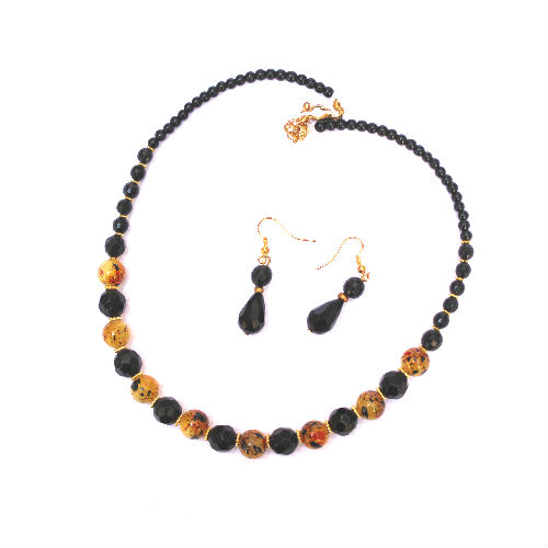 Black Bead Necklace and Earring Set